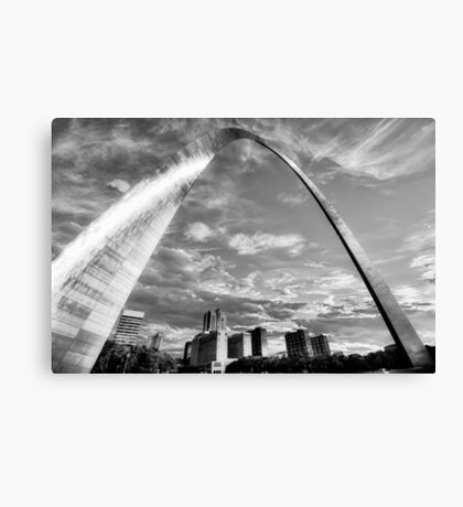 Saint Louis Skyline Morning Under the Arch - Black and White Canvas Print