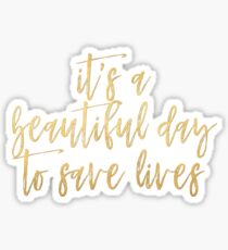 It's A Beautiful Day To Save Lives - Gold Foil Sticker