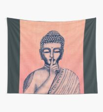 Buddha Shh... Do not disturb in Coral Wall Tapestry