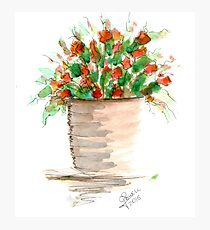 Watercolor Vase of Red Flowers Photographic Print