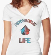 Psychedelic Life  Women's Fitted V-Neck T-Shirt