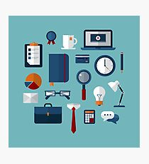 Office Icons Set in Flat Style Photographic Print