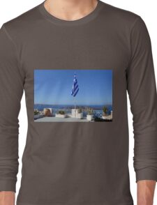 Greece flag and cacti in flower pots in Santorini Long Sleeve T-Shirt