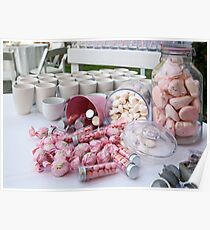 A buffet of pink sweets and candy  Poster