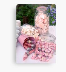 A buffet of pink sweets and candy  Metal Print