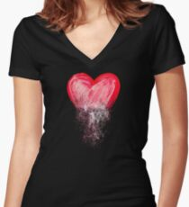 Heart painted from tangle of scribbles Women's Fitted V-Neck T-Shirt