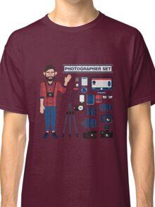 Professional Photographer Set - Cameras, Lenses and Photo Equipment Classic T-Shirt