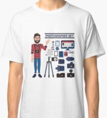 Professional Photographer Set - Cameras, Lenses and Photo Equipment Classic T-Shirt