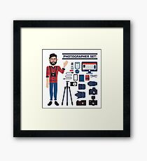 Professional Photographer Set - Cameras, Lenses and Photo Equipment Framed Print