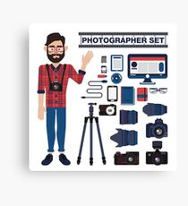 Professional Photographer Set - Cameras, Lenses and Photo Equipment Canvas Print