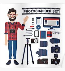 Professional Photographer Set - Cameras, Lenses and Photo Equipment Poster