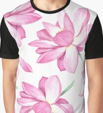 Watercolor lotus pattern Graphic T-Shirt