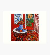 red interior with tropical garden view Art Print