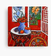 red interior with tropical garden view Canvas Print