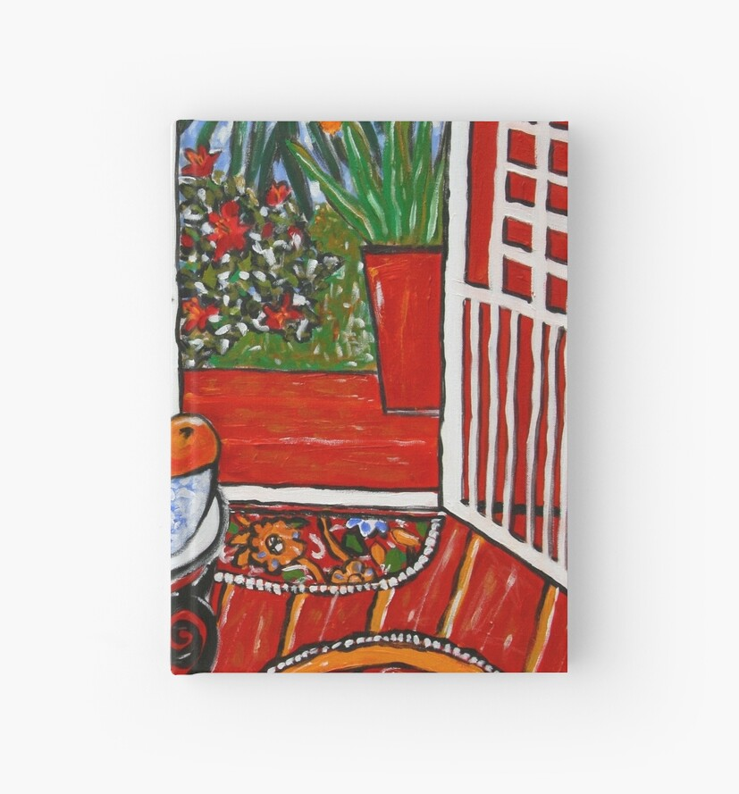 red interior with tropical garden view by genevievem