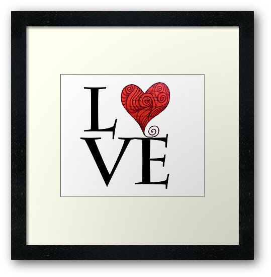 Love Word With Red Zen Heat Design For Valentine S Day Framed