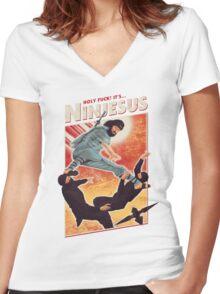 The Jesus Ninja Women's Fitted V-Neck T-Shirt