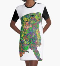 PSYCHEDLIC IGUANA Graphic T-Shirt Dress