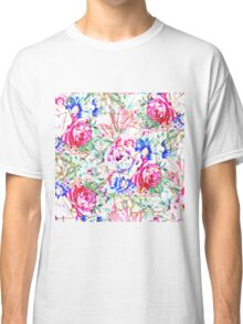 Modern watercolor floral and gold triangles pattern.   Classic T-Shirt