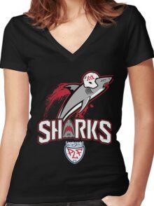 Sharks Football Women's Fitted V-Neck T-Shirt
