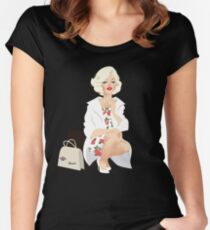 Marilyn white coat Women's Fitted Scoop T-Shirt