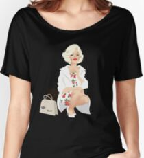 Marilyn white coat Women's Relaxed Fit T-Shirt