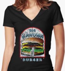 "Big ""KAHUNA"" Burger - Distressed Variant Women's Fitted V-Neck T-Shirt"