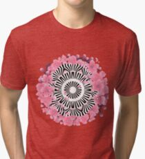Abstract circle and cherry blossom Tri-blend T-Shirt