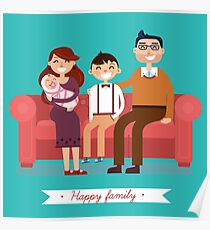 Happy Family with Newborn Baby Poster