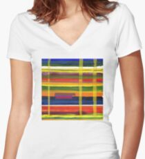 Landscape with Three Trees Women's Fitted V-Neck T-Shirt