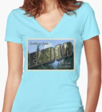 Endor Postcard Women's Fitted V-Neck T-Shirt