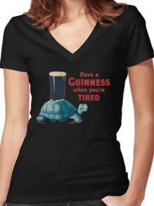 VINTAGE GUINNESS TURTLE Women's Fitted V-Neck T-Shirt
