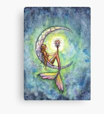 """Mermaid Moon"" Mermaid Art by Molly Harrison Canvas Print"