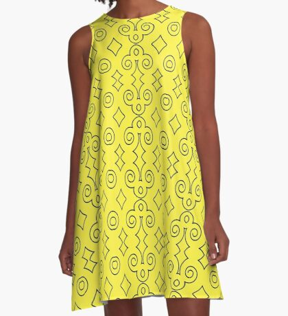 Yellow with Curls of Black by Julie Everhart A-Line Dress