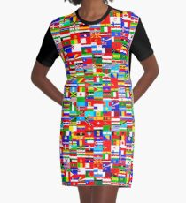 FLAGS OF THE WORLD Graphic T-Shirt Dress