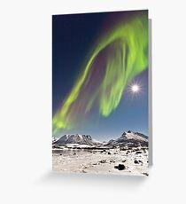 Aurora and full moon Greeting Card