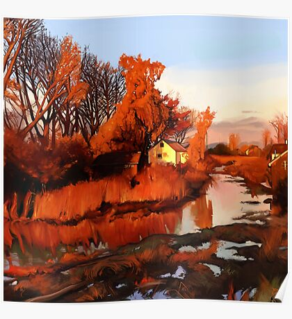 Finn Slough in Autumn Poster