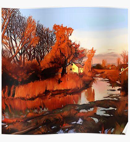 Finn Slough in Autumn Poster