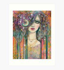 Galaxy Girl Boho Fantasy Art Star Gypsy by Molly Harrison Art Print