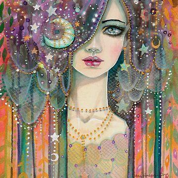 Galaxy Girl Boho Fantasy Art Star Gypsy by Molly Harrison by robmolily