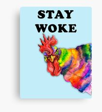 Angry rooster, Stay Woke, Protest poster, anti-Trump poster, womens march Canvas Print