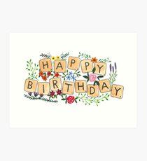 Scrabble Happy Birthday Art Print