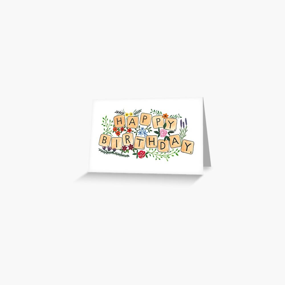 Scrabble Happy Birthday Greeting Card