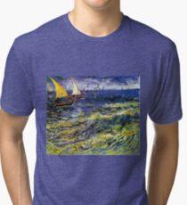 Vincent van Gogh Seascape at Saintes-Maries  Tri-blend T-Shirt