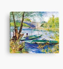 Vincent van Gogh Fisherman and Boats from the Pont de Clichy Canvas Print