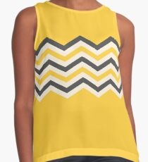Chevron pattern in yellow and gray with big yellow background Contrast Tank