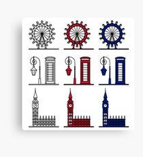 London Symbols Set - London Eye, Big Ben, Phone Booth Canvas Print