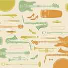 Vintage Soul Music Instrument Collage by blisscandy