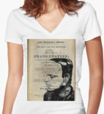 Frankenstein Book Page Illustration  Women's Fitted V-Neck T-Shirt