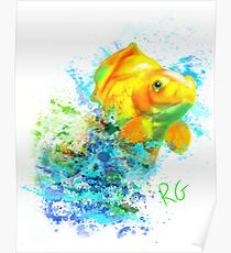Gold Fish Water Colour Poster